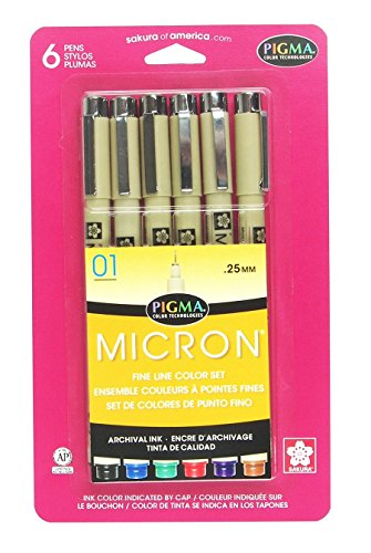 Sakura Pigma 30063 Micron Blister Card Ink Pen Set, Ass't Colors, 01 6CT Set