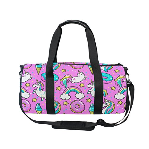 Cooper girl Coloful Donut Unicorn Duffels Bag Travel Sport G