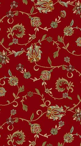 Kapaqua Rubber Backed Mat 18 x 31 RED Floral Doormat Accent Non-Slip Entry Rug RAN1220-1X2