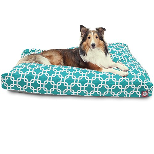 Teal Links Large Rectangle Indoor Outdoor Pet Dog Bed With Removable Washable Cover By Majestic Pet Products