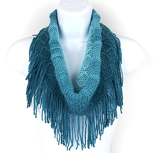 Britt's Knits Women's Acrylic Ombre Infinity Scarf with Fringe, Teal/Aqua, One (Knit Fringe Scarf)