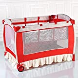 Baby Cot and Change Table Set Foldable Baby Crib Infant Bassinet Bed w/Carry Bag - Red