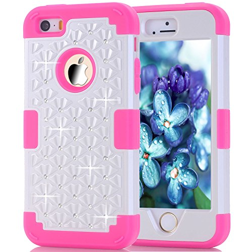 iPhone 5/5S Case, iPhone SE Case, Speedup Diamond Studded Crystal Rhinestone 3 in 1 Bling Hybrid Shockproof Cover Silicone and Hard PC Case For Apple iPhone 5/5S/SE (White Rose (Ipod White Shoes)