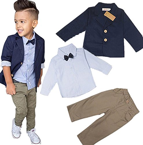 Baby Boys' Gentleman Sets Jacket + Shirt + Pants 3pcs Leisure Suit (7T, Nave ()