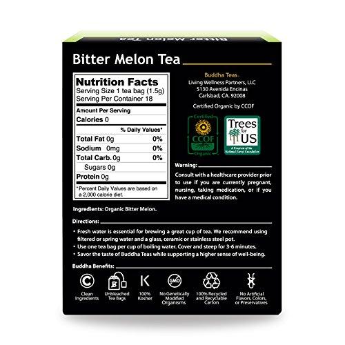 Organic Bitter Melon - Kosher, Caffeine-Free, GMO-Free - 18 Bleach-Free Tea Bags