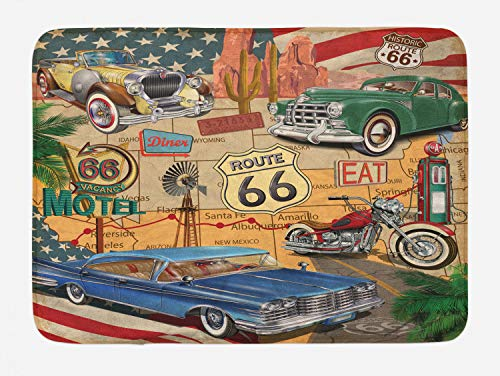 Lunarable Route 66 Bath Mat, Old Fashioned Cars Motorcycle on A Map Road Trip Journey American USA Concept, Plush Bathroom Decor Mat with Non Slip Backing, 29.5 W X 17.5 L Inches, Multicolor