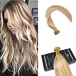 """Ugeat 20"""" Pre Bonded Real Human Hair Extensions Piano Color 27 Highlight with Color 613 Blonde Fusion Hair Extensions 1g/Strands 50 Strands Per Package Flat Tip Hair Extensions"""