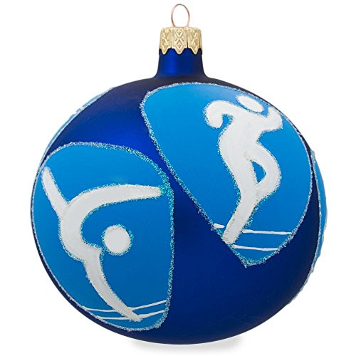 Swimming, Basketball, Tennis, Gymnastics, Track Olympic Glass Ornament 4 Inches
