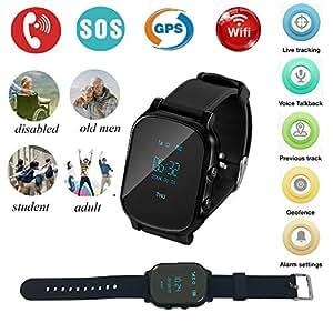 Reloj Inteligente Hombre GPS,Relojes Inteligentes para Mujer GPS Tracker Pulsera Inteligente Pulsera Actividad Reloj Infantil Pulsera Inteligente Reloj GPS Localizador Led Pantalla Smartwatch(Negro)