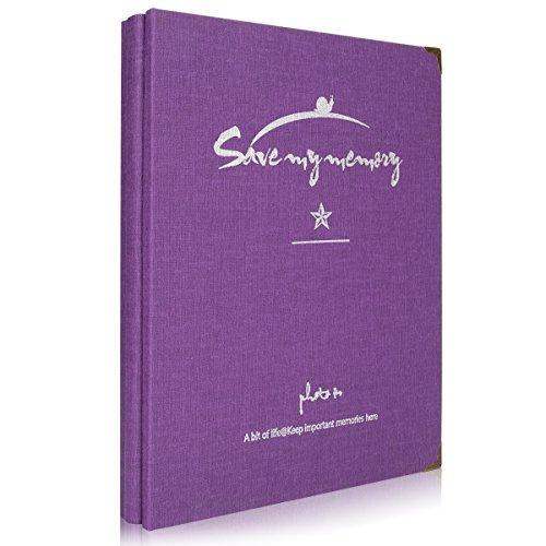 Woodmin 50 Pages A4 White Card DIY Photo Album/Ticket Stub Book/Receipt Album/Stamp Stockbook (Purple)