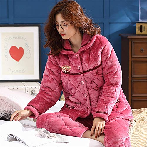 Large sleeved Women's Pajamas Pajamasx Cardigan Thick Warm Fleece And Autumn Suit M150 50kg Winter Coral 162cm Home Long 30 Service Size 7g8d8qxw5