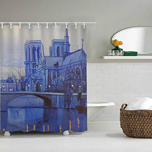 Design Waterproof Fabric Shower Curtain - Hotel Quality, Machine Washable - Shower Curtain for Bath Tub, 72x72 inch (Notre Dame De Paris)