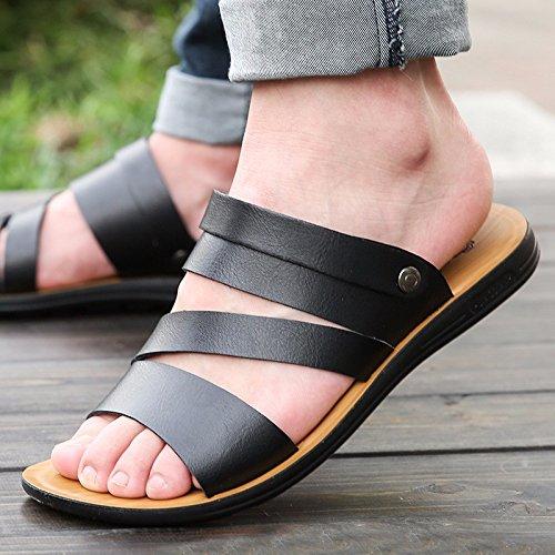 Das neue Männer Freizeit Leder Sandalen Dicker Boden Männer Schuh Sommer Atmungsaktiv Trend Strand Schuh Männer Jugend ,schwarz,US=9,UK=8.5,EU=42 2/3,CN=44