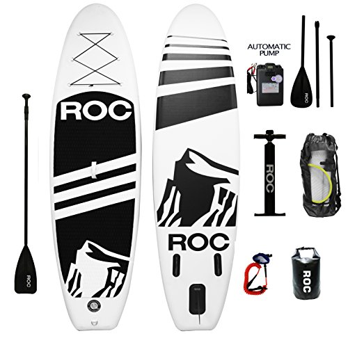 Inflatable Stand Up Paddle Board by Roc Paddleboards W FREE AUTOMATIC ELECTRIC PUMP , Waterproof Bag , leash , Paddle and hand pump !!! 10' long 6'' Thick. SUP, Paddle boards. by Roc Paddle Boards