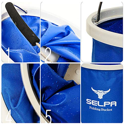 SUJING Multifunctional Collapsible Bucket, Outdoors Camping Water Container Compact Collapsible Bucket Water Container Folding Water Container (Blue) by SUJING (Image #2)