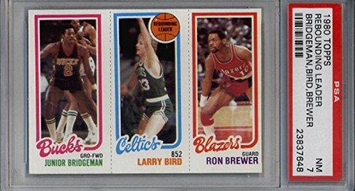 1980-81 Topps #Larry Bird Rookie Card / Junior Bridgeman//Ron Brewer GRADED PSA 7 NEAR (1980 Larry Bird)