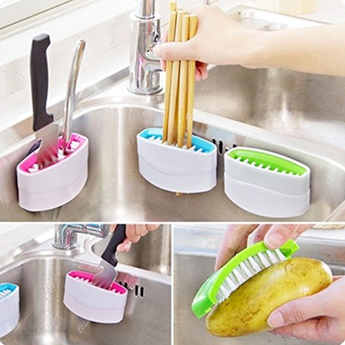 MAZIMARK-Kitchen Suction Cup Base Brush Sponge Sink Draining Washing Holder Towel Rack by MAZIMARK
