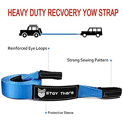 Stay There 3'' × 20ft Tow Recovery Strap, Heavy Duty with 30,000 lb Capacity-Emergency Towing Rope for Recovery Vechiles-Storage Bag (Blue): Automotive
