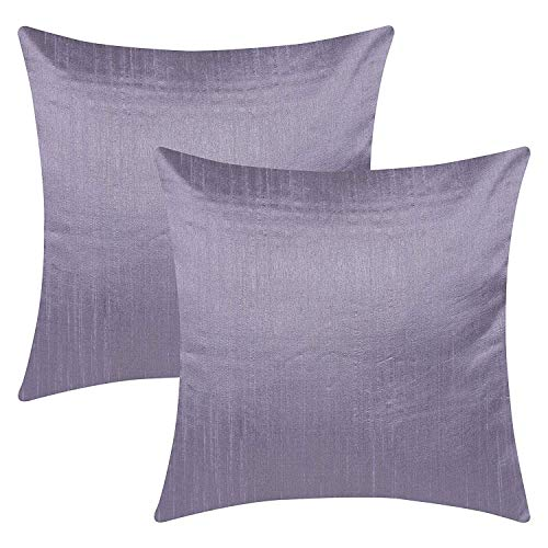 The White Petals Slate Purple Throw Pillow Covers (Faux Silk, Solid Color, 24x24 inch, Pack of 2)