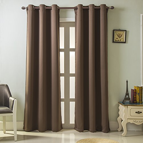 Best Dreamcity Triple Woven Thermal Insulated Ring Top Blackout Window Curtains for Bedroom, Set of 2 Panels, W42