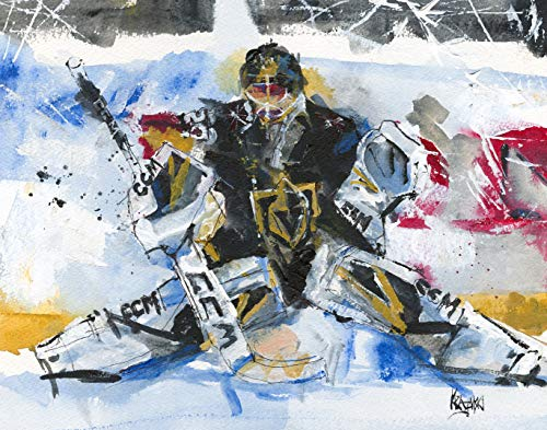 - Vegas Golden Knights Marc-Andre Fleury Art Print from Original Acrylic Painting