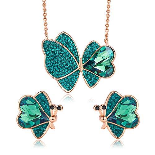 WANGLXTC Fine Jewelry Set Fashion Butterfly Necklace Using Swarovski Elements Ms Stud Earring Mother's Day Send Fine Gift Box Unisex, Green