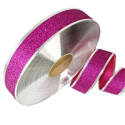 Yamalans 2M Sparkle Glitter Ribbons Christmas Fabric Roll Gift Wrapping Bag Box Packing Strap Decor Xmas Party Festival DIY Craft Decors Rose Red