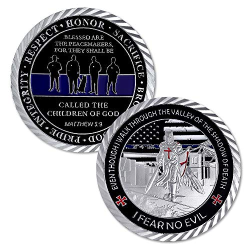 US Police Officers Challenge Coin Thin Blue Line Law Enforcement (Best Lines For God)