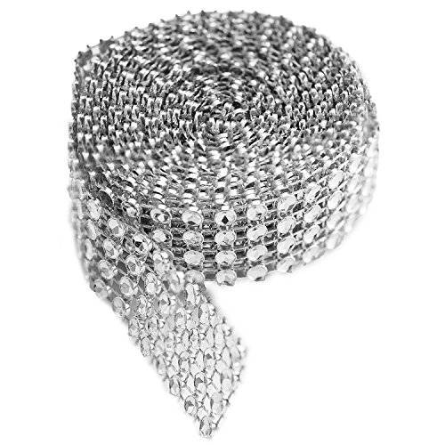 Super Z Outlet SZ057 4 Row Silver Acrylic Rhinestone Diamond Ribbon Trim Banding for Wedding Cakes, Birthday Decorations, Baby Shower Events, Arts & Crafts Projects (2 Yards)