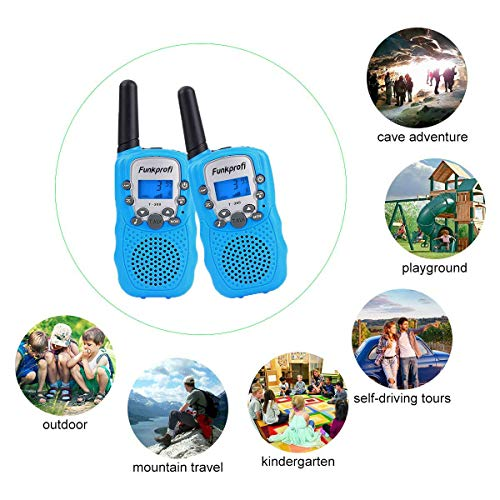 Funkprofi Walkie Talkies for Kids 22 Channels Long Range Rechargeable Walkie Talkies with Battery and Charger, Gift for Boys and Girls, 1 Pair (Blue) by Funkprofi (Image #5)