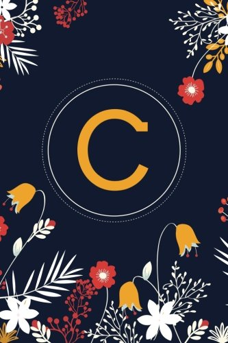 c-6x9-journal-lined-writing-notebook-with-monogram-120-pages-orange-and-yellow-flowers-on-navy-blue-