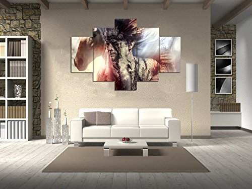 Extra Large Native American Figure Home Decor Artwork Indian warrior Feather Headdress and Horse Wall Art 5 Panel Paintng on Canvas Print Framed for Living Room Stretched Ready to (Horse Large Framed Print)