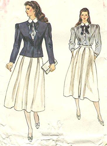 Vogue 1980s vintage sewing pattern 8574 preppy skirt suit - Size - 1980s Preppy