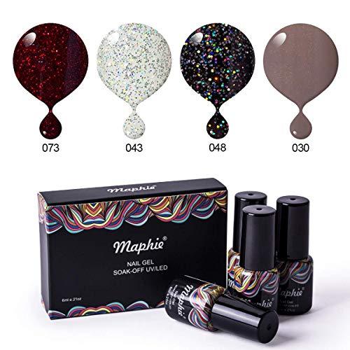 Maphie Gel Nail Polish Set - Popular Glitter Collection Colors Need UV LED Lamp- 4pcs/set 0.21 -