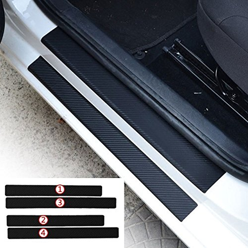 (BENZEE 4pcs Car Door Sill Scuff Welcome Pedal Protect Carbon Fiber Stickers For Volkswagen B5 B6 MK6 MK7 Golf Polo PASSAT TOUAREG TIGUAN SAGITAR Jetta CC)