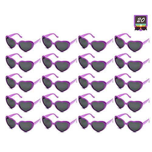 10 Packs Neon Colors Wholesale Heart Sunglasses (20