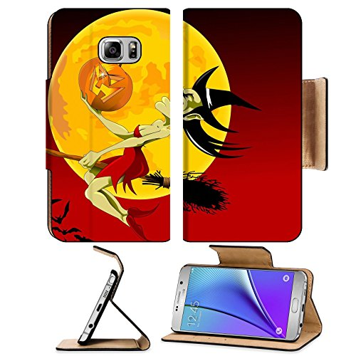 Liili Premium Samsung Galaxy Note 5 Flip Pu Leather Wallet Note5 Case ID: 21741799 vector illustration of halloween witch flying on (Creepy Witch Costume)