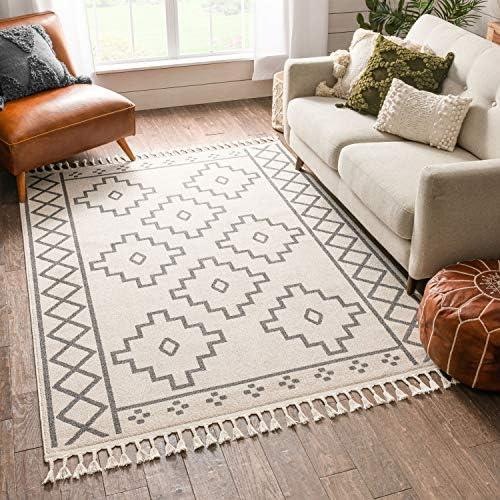 Best living room rug: Well Woven MENA Ivory Southwestern Medallion Area Rug 8×10 7'10″ x 10'6″