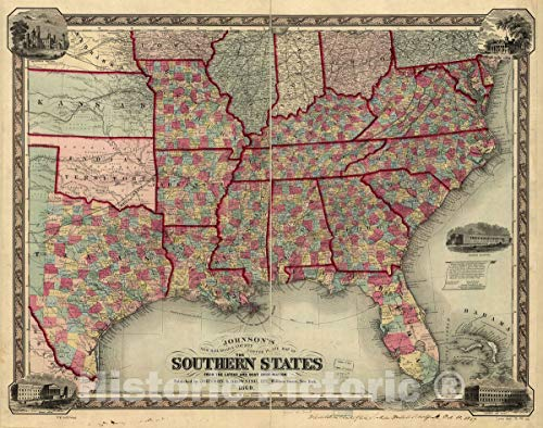 Historic 1860 Map   Johnson's New Railroad & County Copper Plate map of The Southern States from The Latest and Best Information. 56in x 44in
