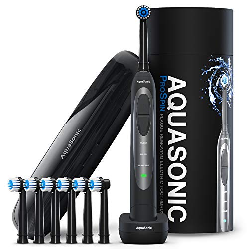 AquaSonic ProSpin – Ultra Whitening & Plaque Removing Electric Toothbrush – Smart LED Pressure Sensor for Enamel & Gums – 3 Modes - Wireless Charging –Lithium Ion -6 Dual Action Heads & Travel Case