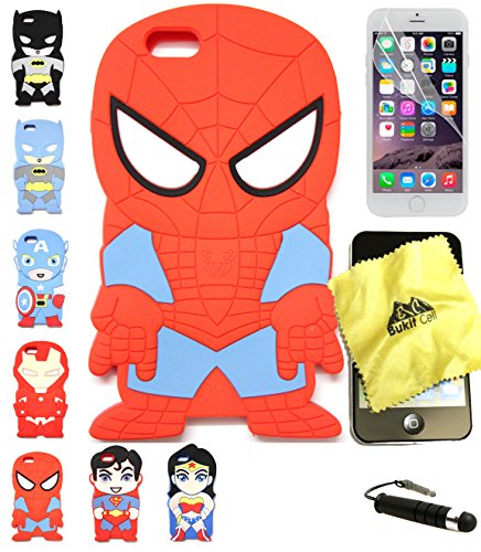 Bukit Cell 3D Superhero Case Bundle 4 Items: Spiderman Cute Justice League Cartoon Soft Silicone Case for 4.7 Inch Iphone 6s / 6 , Cleaning Cloth + Screen Protector + Metallic Stylus Pen
