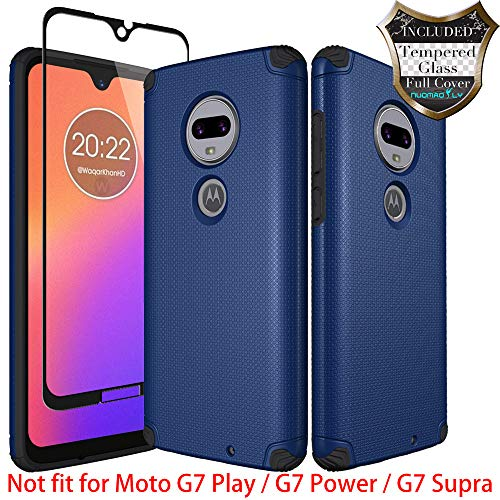Moto G7 Case, Moto G7 Plus Case with [Tempered Glass Screen Protector] Nuomaofly Metal Plate Back for Magnetic Car Mounts Texture Armor Protection for Motorola Moto G7 / G7 Plus (Blue)