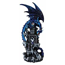 """Large 20.75"""" Tall Blue Waterfall Spyro Dragon On Rocky Mountain Castle Decorative Statue With Automatic Color Changing LED Night Light"""
