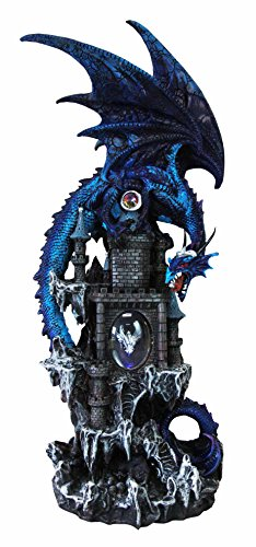 Large 20.75'' Tall Blue Waterfall Spyro Dragon On Rocky Mountain Castle Decorative Statue With Automatic Color Changing LED Night Light by Ebros Gift