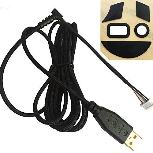 (HUYUN New USB Mouse Cable USB Line &feet Skates Teflon for Razer Naga 2014 RZ01-0104&Naga Chroma 2016 RZ01-0161 &Naga Hex V2 2016 RZ01-0160 Gaming Mouse)