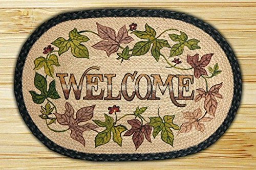 """Capitol Importing Earth Rugs-Sweet Potato WELCOME 20"""" by 30"""" Oval Braided Rug"""