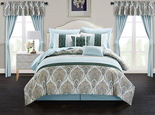 Chic Home Vivaldi 20 Piece Comforter Set Medallion Quilted Embroidered Design Complete Bag Bedding, King, Green ()