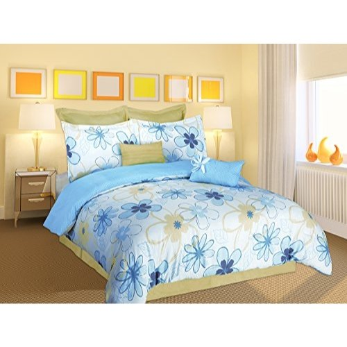 (Artistic Linen 6 Piece Outline Floral Comforter Set, Twin, Multicolor)