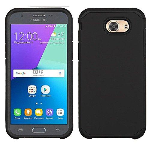 (Mybat Dual Layer [Shock Absorbing] Hybrid Rubberized Hard PC/Silicone Case for Samsung Galaxy Amp Prime 2/Express Prime 2/J3 (2017)/J3 Eclipse/J3 Emerge/J3 Luna Pro/J3 Mission/J3 Prime/Sol 2, Black)