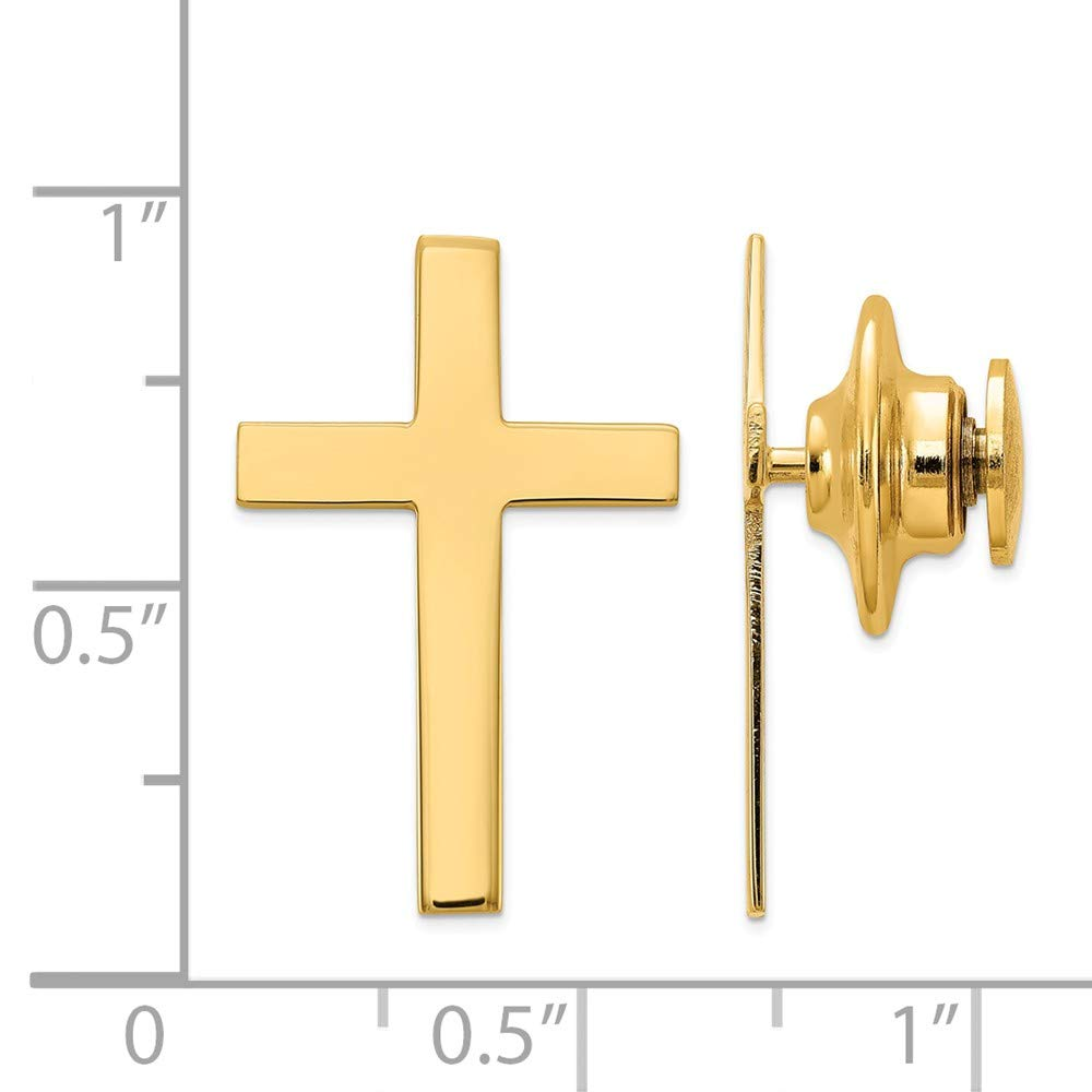 14k Yellow Gold Cross Tie Tac 0.56g Mother's Day by Diamond2Deal (Image #2)